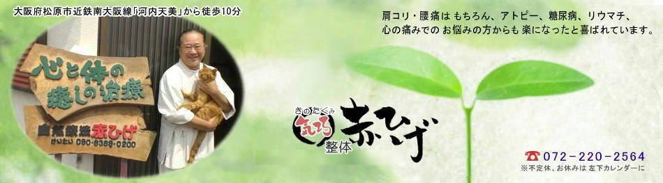大阪府松原市 近鉄南大阪線・河内天美駅 心とからだに、整体 気巧赤ひげ